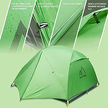 Terra Hiker Tente de Camping, Tente Ultra Légère 2,15 kg Imperméable et Resistante au Vent pour 4 Saisons, 2 Personnes, PU 4000mm, Tapis de Sol Offert (PU 4000mm)