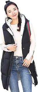 XFentech Women Winter Gilet - Quilted Padded Long Gilet Winter Warm Hooded Waistcoat Outerwear Jacket Coat