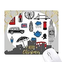 ロンドンのビッグベンのブースの雨のメールボックス クリスマスイブのゴムマウスパッド
