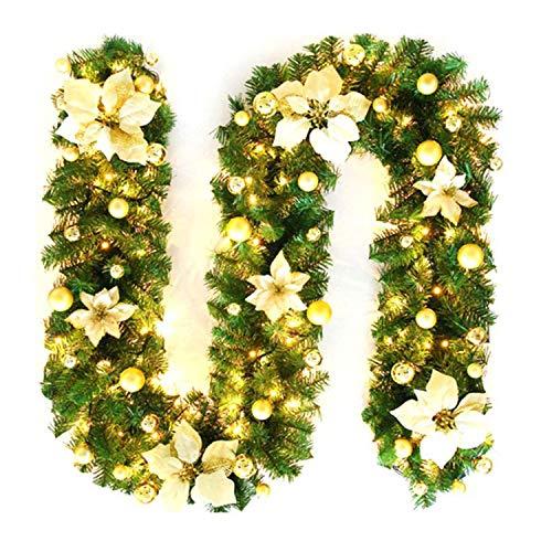 Ghirlanda Natalizia con LED, Addobbi Natalizi Ghirlanda Natalizia Illuminata per Scale, Balcone, Porta con Esterno, Camino Decorativo (Giallo)