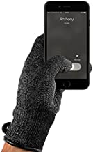Mujjo Knitted Touch-screen Winter Gloves | Double Layered Insulation, All-Hand Use, Anti-Slip Phone Grip | Leather Wrist Cuffs with Magnetic Closure (Small)
