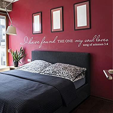 Vinyl Love Decal Romantic Love Saying Quote Love Wall Sticker Words Wall Grapihc Home Art Decoration - I Have Found The One My Soul Loves White