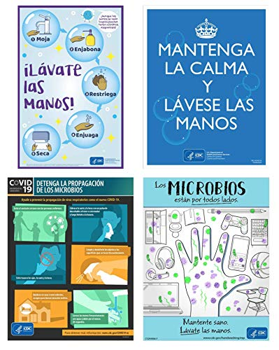 SPANISH Coronavirus COVID-19 CDC Awareness Poster Set of Four Unique 11'x17' Laminated - Office or School Poster | Multiple Posters for Workplace