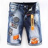 Pantalones Jeans Pantalones Cortos De Mezclilla Elásticos con Parche De Agujero Delgado Y Andrajosos...