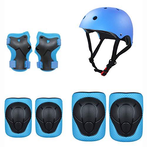 QQYYY Casco Y Protecciones Bicicleta Niños Patines Monopatín Tamaño Ajustable Infantiles Rodilleras Coderas Muñuequeras Deportivos,Azul
