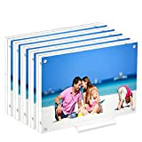 Acrylic 5X7 Clear Acrylic Picture Frames, Magnetic Picture Frames with Gift Box Package, Double Sided Acrylic Photo Frames Stand in Desk or Table, Pack of 5(Bonus Microfiber Cloth + 5 Pack Stand)