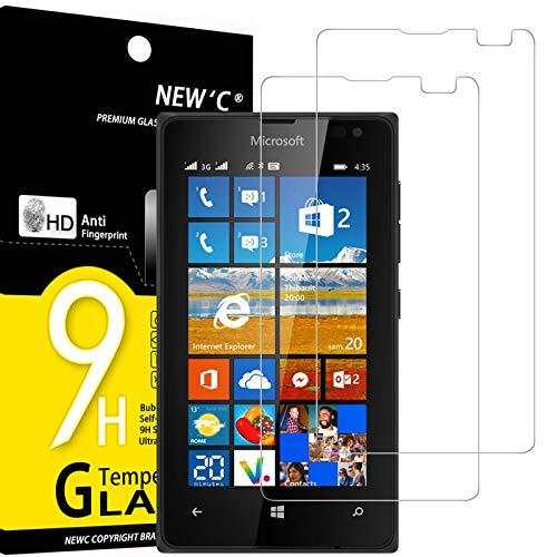 NEW'C 2 Stück, PanzerglasFolie Schutzfolie für Nokia Microsoft Lumia 435, Frei von Kratzern Fingabdrücken & Öl, 9H Festigkeit, HD Bildschirmschutzfolie, 0.33mm Ultra-klar, Ultrawiderstandsfähig