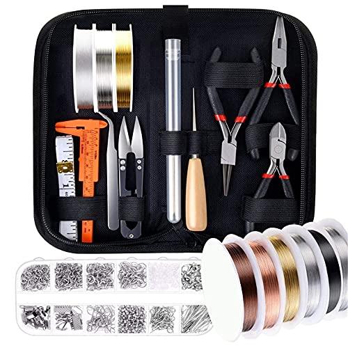 XIGAWAY 24 piezas de suministros de fabricación de joyas con alambres de joyería, kit de manualidades DIY