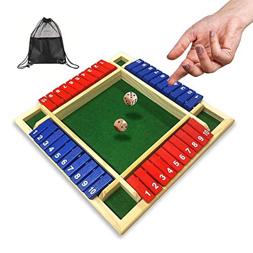 Siebwin Shut The Box Dice Game Colorful Classic 4 Sided Wooden Board Game with 8 Dice and Portable Storage Bag ShutTheBox Game Instructions for Kids or Eldenly Parents