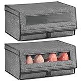 mDesign Juego de 2 cajas para zapatos de fibra sintética (grandes) – Cajas apilables con ventana, cierre adhesivo y tapa abatible – Prácticas cajas organizadoras para armarios – gris antracita