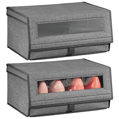 mDesign 2er-Set Schuhaufbewahrung aus Kunstfaser (groß) – stapelbare Schuhbox mit Sichtfenster, Klettverschluss und Klappdeckel – praktische Aufbewahrungsbox im Schrank oder Regal – anthrazitgrau