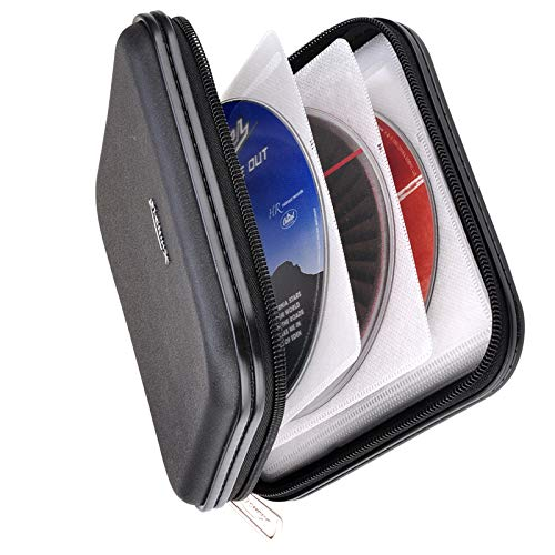 CD DVD Wallet, XiongYe 32 Capacity Heavy Duty, DVD CD Case Holder for Car ,Portable DVD/VCD Storage Disk, Hard Shell Sturdy case , Car CD Disk Holder, Booklet, Blu-ray Wallet (32 Capacity,Black)