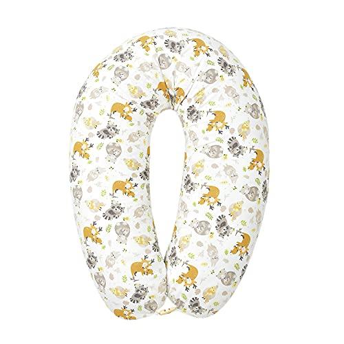 Sei Design Stillkissen Lagerungskissen Schwangerschaftskissen, Bezug mit Reißverschluss, 190 x 30 cm - 170 x 30 cm (Füllung: EPS Mikroperlen, Animals Holzknopf)