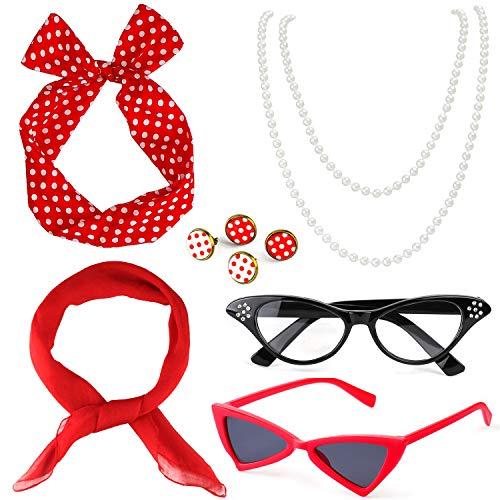 Beelittle 50's Damen Kostüm Accessoires Set Chiffon Schal Polka Dot Bandana Krawatte Stirnband Ohrringe Retro Cat Eye Eglasses Perlenkette (Rot)