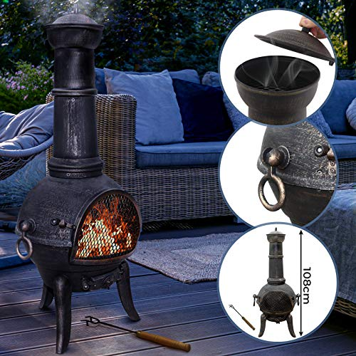 Jago Outdoor Chiminea with Hinged Mesh Door - Cast Iron, in Vintage Design, 108 cm High, with Poker Included - Garden Stove Patio Heater Fire Pit Fireplace Charcoal Wood Burner