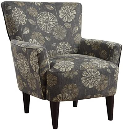 Best Emerald Home Flower Power Cascade Pewter Accent Chair with Flared Arms And Welt Trim