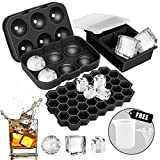 Ice Cube Tray, AiBast Ice Trays for Freezer With Lid, 3 Pack Silicone Large Round Ice Cube Tray, Sphere Square Honeycomb Ice Trays for Whiskey With Covers&Funnel,Reusable Ice Cube Trays BPA-Free Black