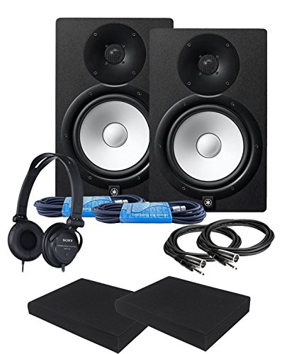 Yamaha HS8 8-Inch Powered Studio Monitor Speaker Black (Pair) with Studio Reference Headphones, High Density Studio Monitor Isolation Pads (Pair), 2 x 10-Ft TRS to XLR Cables and 2 x 20-Ft XLR Cables