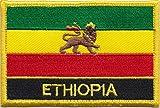Äthiopien-Flagge, Löwe von Judah 1897 to 1974 Flagge Patch Aufnäher bestickt, rechteckig, zum Aufnähen oder Aufbügeln, exklusives Design von 1000 Flaggen
