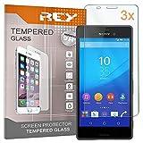 REY 3X Protector de Pantalla para Sony Xperia M4 Aqua, Cristal Vidrio Templado Premium