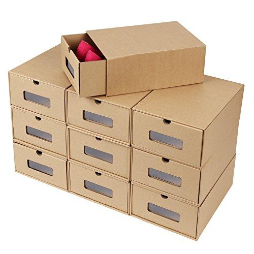 MVPOWER 10 Scatole per Scarpe di Carta Kraft, Porta Scarpe per Uomo/Donna, Grande Misura, 33.5*23*13cm