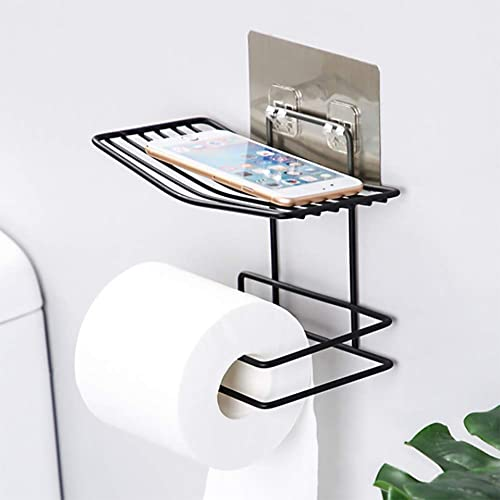 ZIZLY Bathroom Metal Wall Mounted Toilet Paper Tissue Towel Holder with Mobile Phone Storage Shelf 18 5 x 14 5 x 10 5 cm Black