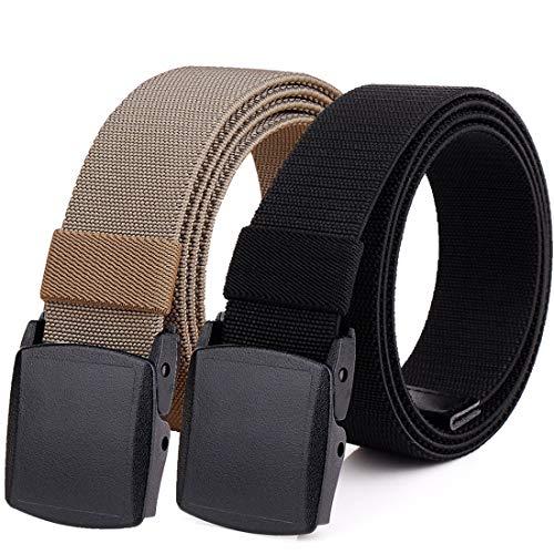 Hoanan 2-Pack Elastic Stretch Belt, Men's Plus Size No Metal Nylon Tactical Hiking Belt(black/brown-up to 42')