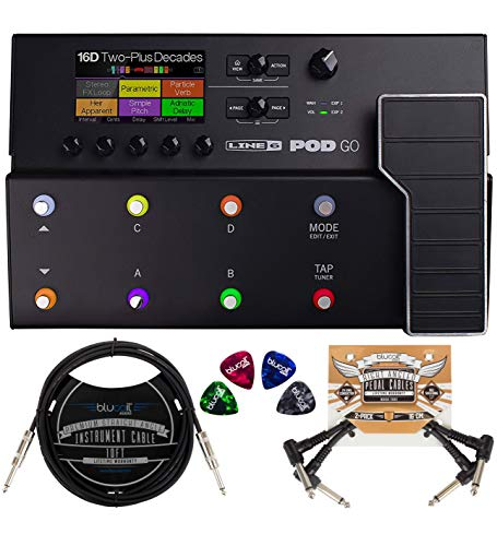 Line 6 POD Go Amp Modeler Multi-FX Processor Bundle with Blucoil 2-Pack of 10-FT Straight Instrument Cables (1/4in), 2-Pack of Pedal Patch Cables, and 4-Pack of Celluloid Guitar Picks