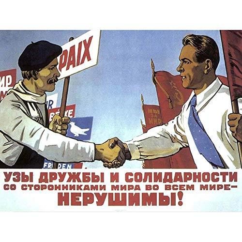 Wee Blauwe Coo Propaganda Vrede Vriend Ussr Communisme Rode Vlag Sovjet Art Print Ingelijste Poster Muurdecoratie 12X16 Inch