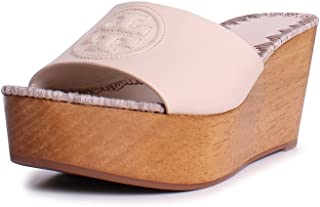 e5b275040 Tory Burch Patty Leather 80MM Slide Wedges in Dulce de Leche