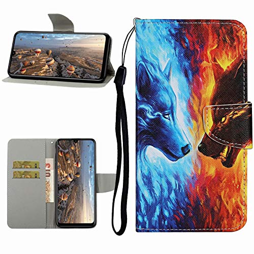 Miagon Full Body Wallet Case for Samsung Galaxy S10e,Pu Leather Protective Flip Cover with Wrist Strap ID Card Holder Magnetic Closure,Fire Wolf