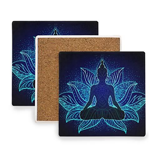 JUMBEAR Mandala Buddha Silhouette Ceramic Coasters for Drinks, Set of 2 Absorbent Square Coasters