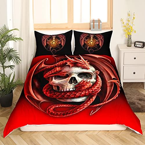 Erosebridal Totenkopf-bedruckte Bettwäsche für Teenager, Kinder, Rot, Doppelbett, Bettbezug mit gruseligem Totenkopf, Schmusetuch mit Dargon-Cartoon-Tiermuster, Tagesdecke