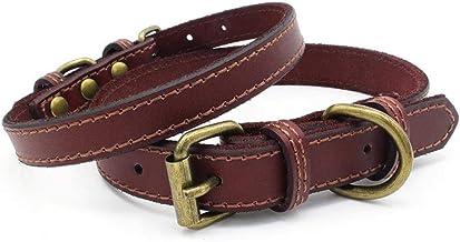 Lomsarsh Pet Dog Collar Supplies Leather Soft Collar Large Dog Adjustable Pet Retro Pure Berry Supplies Amazon New Dog Chain