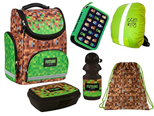 Minecraft Schooltassen, 6-delige set, turnzakken, drinkfles, brooddoos, regenbescherming, Minecraft motief