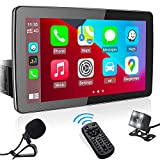 9' Single Din Car Stereo with Apple CarPlay, aboutBit Adjustable Multimedia Receiver with PhoneLink/Bluetooth/MIC/Dual USB/AM&FM Radio/USB & SD/Backup Camera/Steering Wheel Control