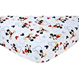 """Mickey Mouse Disney Baby """"Let's Go Mickey """" Baby Crib Sheet, 28"""" X 52"""", Fits Stand Size Crib Mattress"""