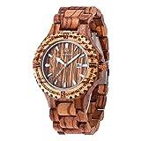 Juhaich orologio in legno Zebra/rosso sandalo/acero + sandalo rosso orologio da polso giapponese...