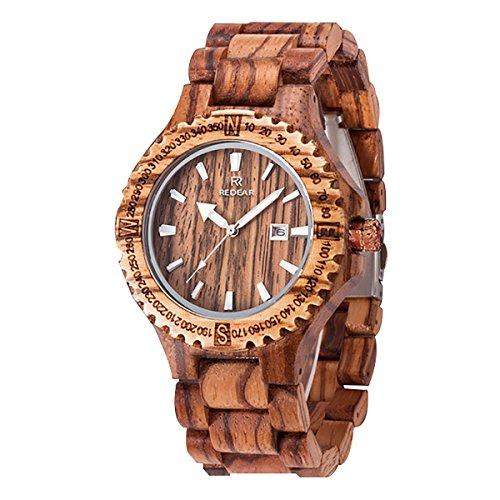 Juhaich orologio in legno Zebra/rosso sandalo/acero + sandalo rosso orologio da polso giapponese movimento al quarzo con data Display