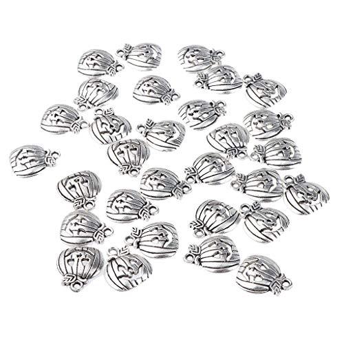 Milageto 50x Plateado/Dorado Cara Calabaza Aleación Colgantes de Diamantes de Imitación Encantos de Bricolaje - Plata Antigua, Individual
