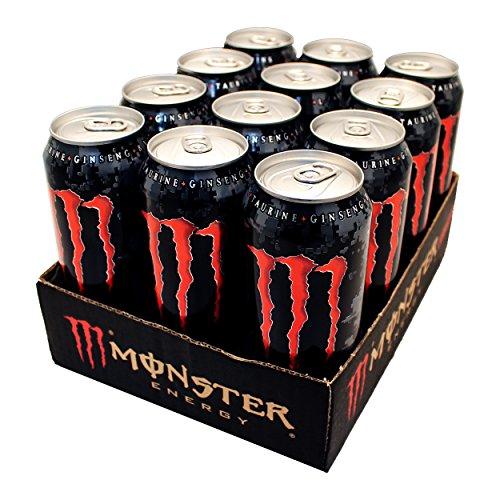 Canette Monster Energy Assault, Energy Drink, Boisson Énergisante, avec de la Taurine et de la Caféine, 12 x 50 cl
