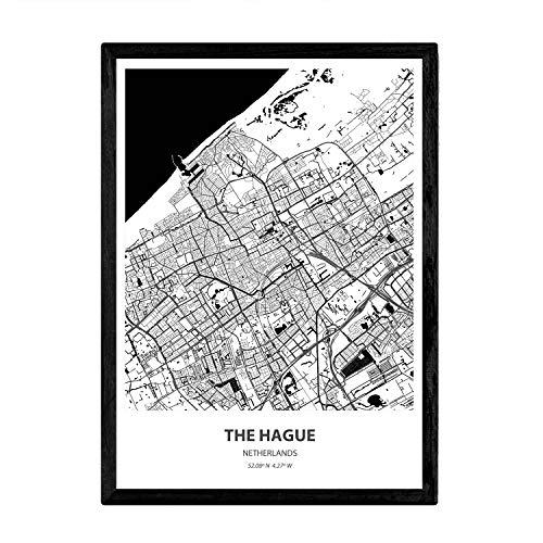 Nacnic Poster con Mapa de The Hague - Holanda. Láminas de Ciudades de Holanda y Bélgica con Mares y ríos en Color Negro. Tamaño A4