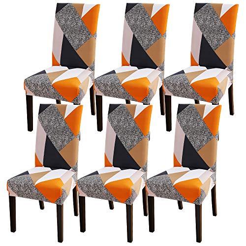 laamei Fundas para Sillas de Comedor Fundas Decorativas para Sillas Altas Pack de 1/2/4/6 Fundas Elásticas Chair Covers Lavables Desmontables Cubiertas para Sillas Muy Fácil de Limpiar