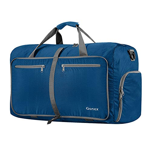 Gonex 60L Foldable Travel Duffel Bag for Luggage, Gym, Sport, Camping, Storage, Shopping Water & Tear Resistant Deep Blue