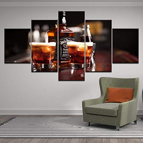 IGZAKER Pictures Prints Poster Wall Art 5 Set Mousserende Wijn Champagne Whisky Beer Bar Likeur Canvas Schilderij Home Decor-40x60 40x80 40x100cm geen frame