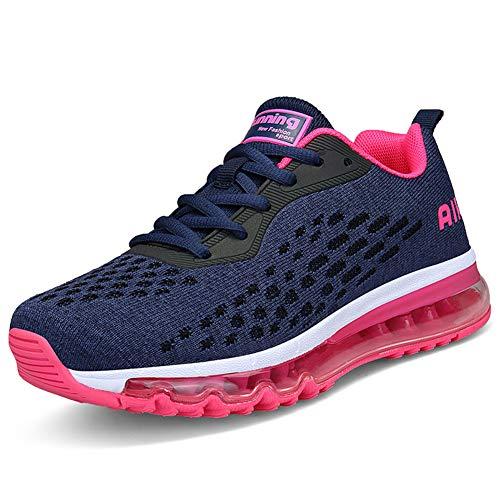 Mujer Zapatillas Deporte para Zapatillas de Ligeras Running Transpirables Cómodas Correr para Zapatos de Malla(8078-Rosa roja,39EU)