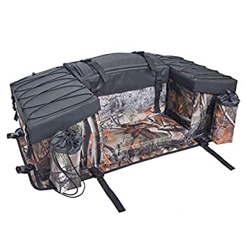 UNISTRENGH ATV Cargo Bag Rear Rack Gear Bag 600D Waterproof Oxford with Topside Bungee Tie-Down Storage Padded-Bottom Multi-compartment Rear Seat Bag With Integrated Cover  Maple Leaf Camouflage