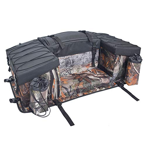 UNISTRENGH ATV Cargo Bag Rear Rack Gear Bag 600D Waterproof Oxford with Topside Bungee Tie-Down Storage Padded-Bottom Multi-compartment Rear Seat Bag With Integrated Cover (Maple Leaf Camouflage)