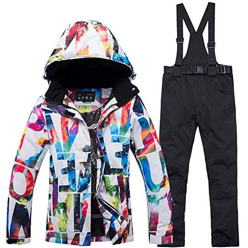 Khcr-CL Vêtements de Ski Femme Combinaison de Ski à Capuchon Pantalon Hiver Coupe-Vent Respirant imperméable Sports de Plein air Résistant à l'usure Chaud monocarte Double Planche à vélo,A,L