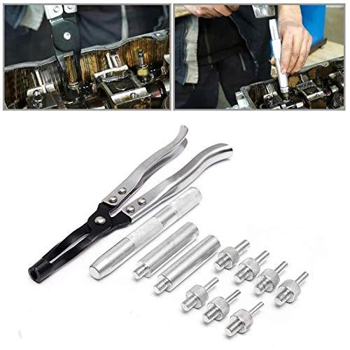 XUSHEN-HU Sello de la válvula de extracción e instalación de kit, 11pcs válvula de vástago de la herramienta Alicates de estar Sello fijado coche automotor removedor del instalador, herramientas unive